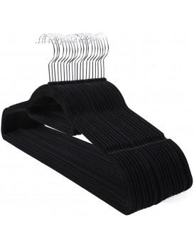 Velúrové ramienko na odevy 20 kusov - čierne