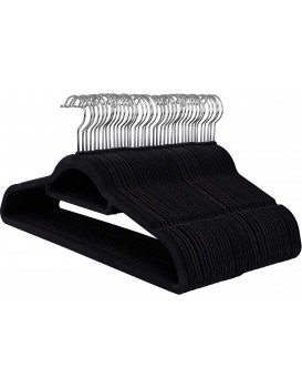 Velúrové ramienko na odevy 50 kusov - čierne