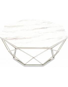 Konferenčný stolík VOLARE 100 cm biely/strieborný