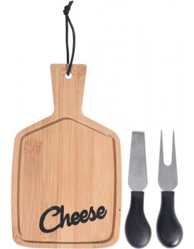 Deska na krájení CHEESE + nože hnědá