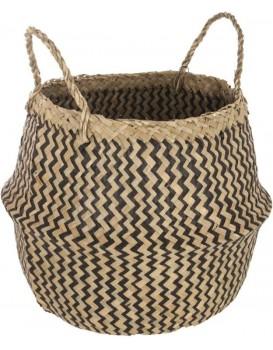 Košík z přírodní mořské trávy 40cm hnědo-černý