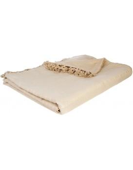 Přehoz na postel se střapci Ollina 230x250 béžová