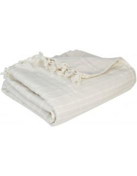 Prikrývka na posteľ so strapcami Ollina 230x250 krémová