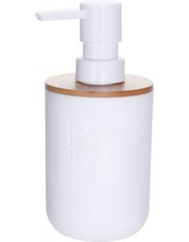 Bílý zásobník na tekuté mýdlo s bambusovým víčkem