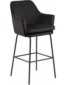 Barová židle Hoker Ademaro tmavě šedá velur
