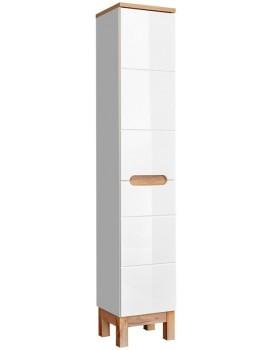 Koupelnová skříňka Bali 187x35x33 cm s košem bílá/dub wotan
