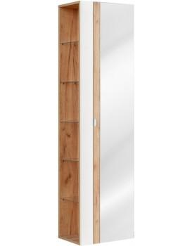 Koupelnová skříňka sloupek CAPRI se zrcadlem bílá lesklá/dub zlatý