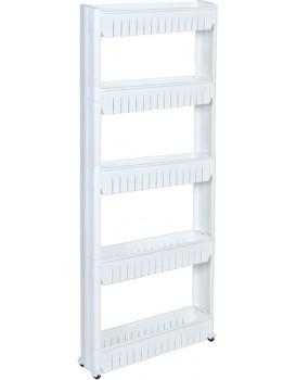 Regál na kolieskach - 5 políc biely