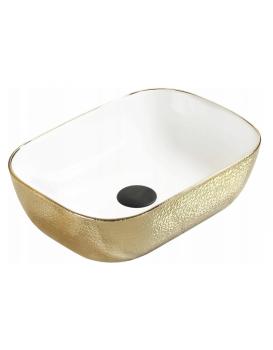 Keramické umývadlo na dosku MEXEN RITA Lindsay 45x32 cm biele/zlaté