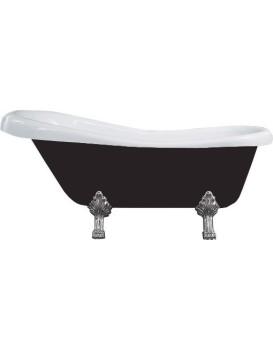 Vaňa MEXEN RETRO CHROM 150 × 73 čierno-biela