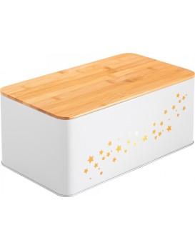 Chlebník s bambusovou deskou Star bílý