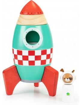 Dřevěná raketová skládačka Ecotoys mátová