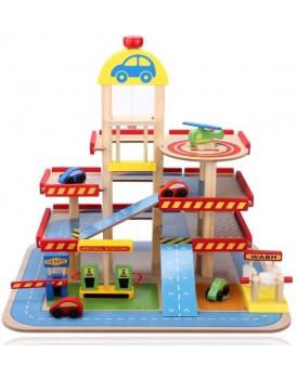 Garáž s výtahem, autíčky a vrtulníkem EcoToys Autorimessa