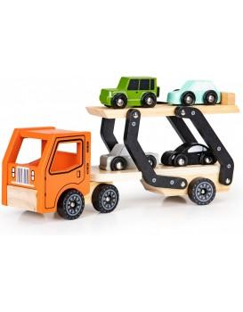 Dřevěné odtahové auto + 4 autíčka EcoToys