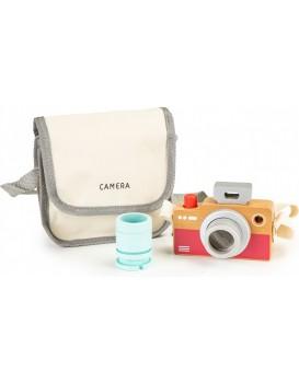 Dřevěná taška na fotoaparát pro děti + kaleidoskop Ecotoys béžový