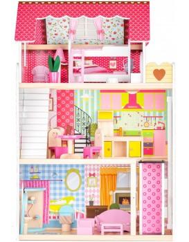 Dřevěný domeček Rezidence Malina s výtahem + 2 panenky Ecotoys
