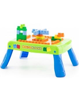 Stůl na hraní s kostičkami Cubes zeleno-modrý