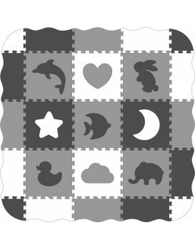 Pěnová puzzle podložka Ani šedá - 25 kusů