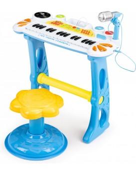 Dětský keyboard s mikrofonem Laura modré