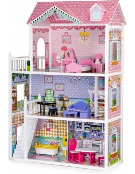 Dřevěný domeček pro panenky XXL s nábytkem EcoToys růžový