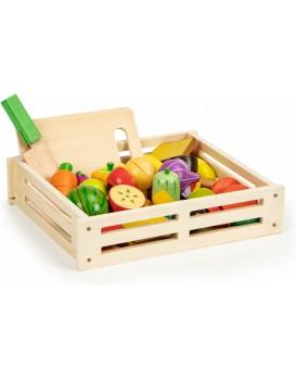 Dřevěná bedýnka s ovocem a zeleninou EcoToys