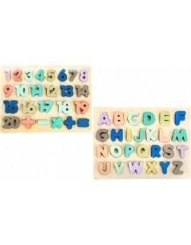 Dřevěná abeceda s čísly Ecotoys hnědá