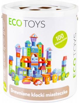 Dřevěné kostky Městečko EcoToys 100 kusů