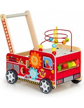 Dřevěné chodítko s edukačními prvky Hasičské vozidlo EcoToys
