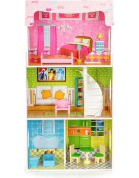 Dřevěný domeček pro panenky EcoToys Mei růžový + nábytek