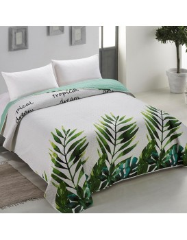Oboustranný přehoz přes postel AmeliaHome Makia bílo-zelený