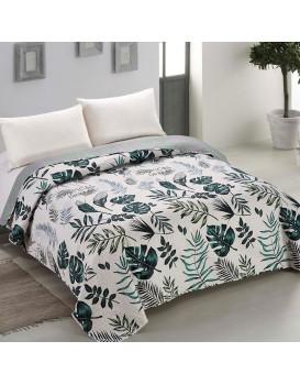 Oboustranný přehoz přes postel AmeliaHome Flowee bílo-zelený
