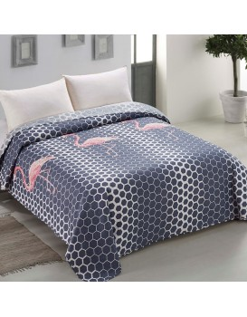 Přehoz přes postel AmeliaHome Flamingos modro-šedý