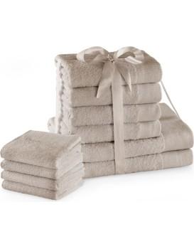 Sada bavlněných ručníků AmeliaHome AMARI 2+4+4 ks béžová