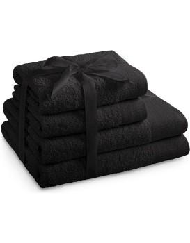 Súprava bavlnených uterákov AmeliaHome AMARI čierna