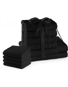 Súprava bavlnených uterákov AmeliaHome Amari I čierna
