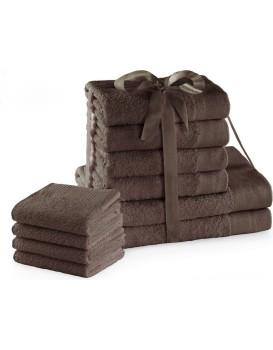 Sada bavlněných ručníků AmeliaHome AMARI 2+4+4 ks hnědá