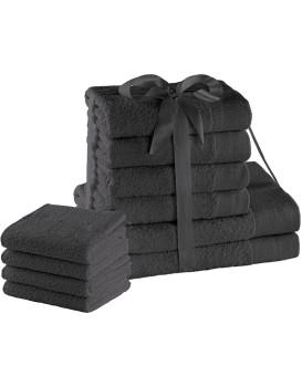 Súprava bavlnených uterákov AmeliaHome AMARI 2+4+4 ks grafitová