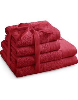 Sada bavlněných ručníků AmeliaHome AMARI tmavě červená