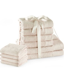 Sada bavlněných ručníků AmeliaHome AMARI 2+4+4 ks ecru