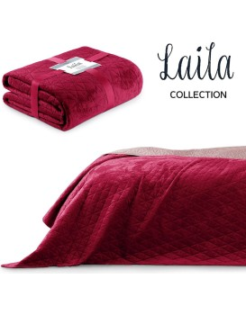Prikrývka AmeliaHome Laila na posteľ rubínovo červená/fialovo ružová