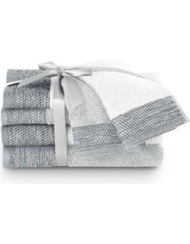 Sada bavlněných ručníků AmeliaHome Aria bílá/stříbrná