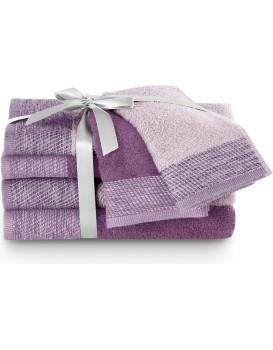 Sada bavlněných ručníků AmeliaHome Aria fialová/švestková