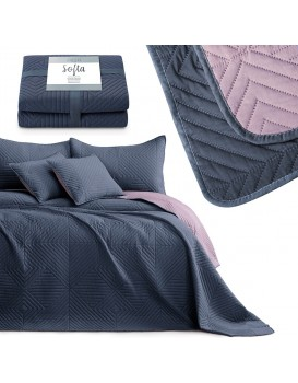 Přehoz na postel AmeliaHome Softa tmavě modrý/fialový