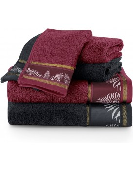 Sada bavlněných ručníků AmeliaHome Pavos vínová/černá