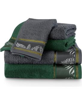 Sada bavlněných ručníků AmeliaHome Pavos grafitová/zelená