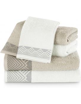 Sada bavlněných ručníků AmeliaHome  Aledo bílá/béžová
