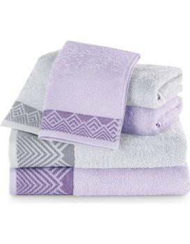 Sada bavlněných ručníků AmeliaHome Aledo fialová/šedá