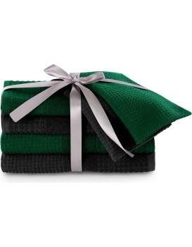 Sada bavlněných ručníků AmeliaHome Plano zelená/černá