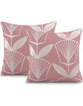 Sada dvou povlaků na polštář AmeliaHome Oxford Floris růžová