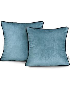 Povlaky na polštáře AmeliaHome Velvet Piping světle modré